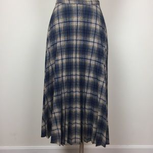 Vintage Pleated Plaid Skirt